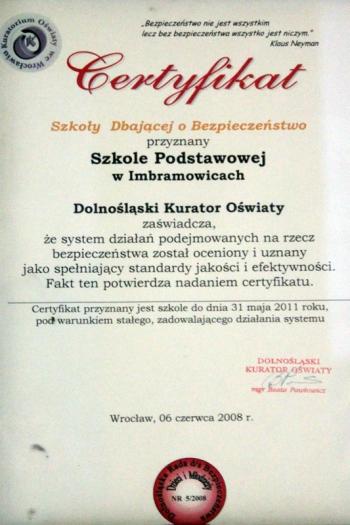 SZKOŁA DBAJĄCA O BEZPIECZEŃSTWO – 06.06.2008
