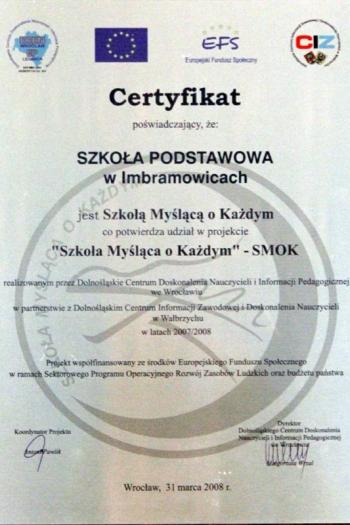 """""""SMOK"""" – SZKOŁA MYŚLĄCA O KAŻDYM – 31.03.2008"""